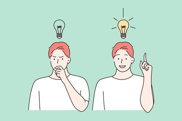 Denken, idee, erfolg, geschäft, vorstellungskraft setzen konzept