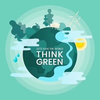 Denken sie an einen grünen umweltschutzvektor