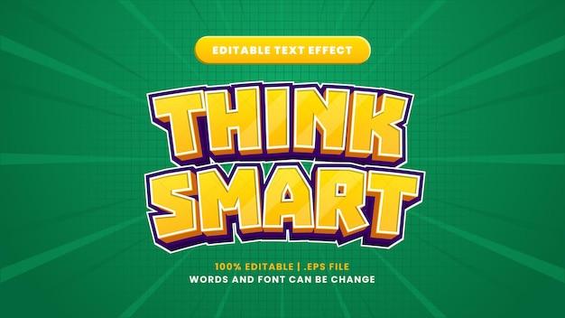 Denken sie an einen intelligenten bearbeitbaren texteffekt im modernen 3d-stil