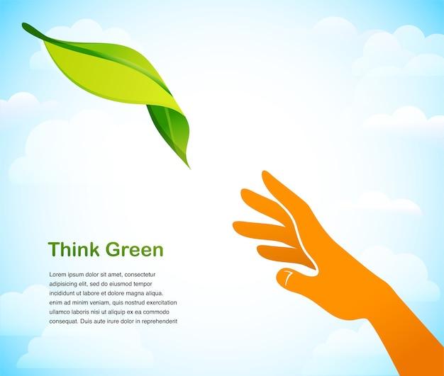 Denken sie grün - hintergrund mit zwei händen