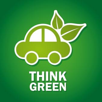 Denken sie grünes design über grüne hintergrundvektorillustration