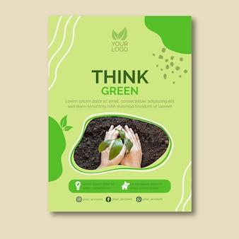 Denken sie grünes konzeptplakatdesign