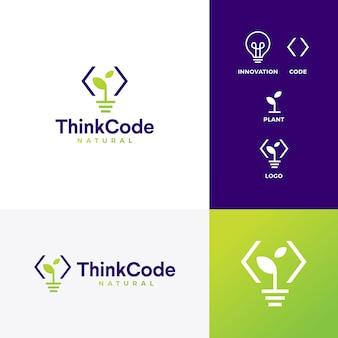 Denken sie intelligente logo-vektorikone der code-birneninnovation