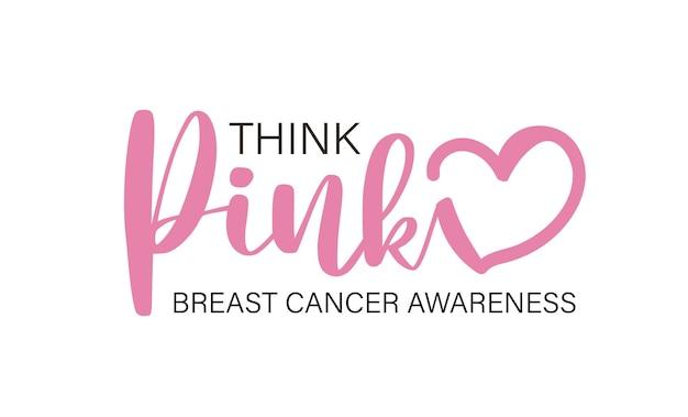Denken sie rosa text rosa herz-vektor-illustration-design für brustkrebs-bewusstseinsmonatsmode