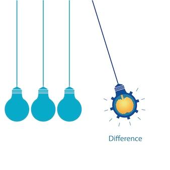 Denken sie verschiedene konzeptionelle kreative glühbirne mit gehirn.