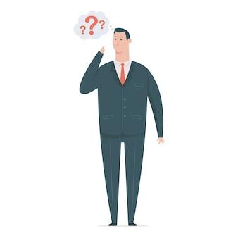 Denkender geschäftsmann im anzug mit einem fragezeichen und einer sprechblase. flache karikatur büroangestellter charakter lokalisiert auf weißem hintergrund.