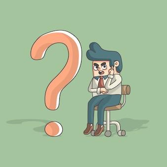 Denkender karikaturgeschäftsmann beim sitzen neben fragezeichen