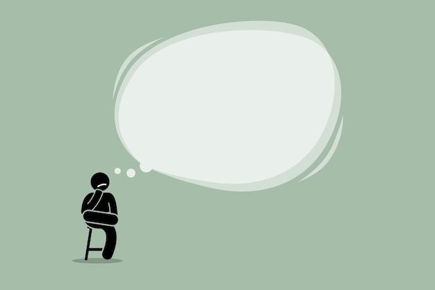 Denkender mann, der auf einem stuhl sitzt. konzept des denkens, kontemplierens, der idee, der weisheit und des verstehens. Premium Vektoren