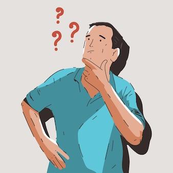 Denkender mann mit fragezeichenkarikaturillustration lokalisiert auf hintergrund.