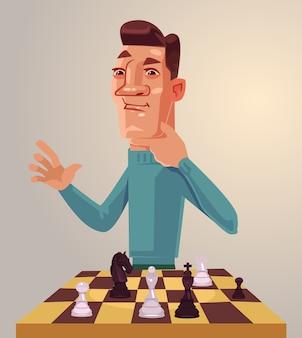 Denkender manncharakter spielt schach.
