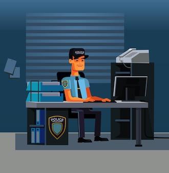 Denkender polizist detektivcharakterarbeiter am computer in der büropolizeiabteilung