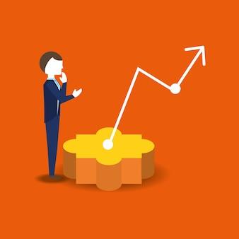 Denkender und finanzieller pfeil des geschäftsmannes über orange hintergrund, buntes design. vektor illustratio