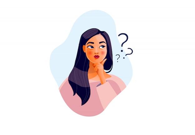 Denkendes mädchen. schönes gesicht, zweifel, weibliche probleme, gedanken, gefühle. neugierige frau befragt, fragezeichen