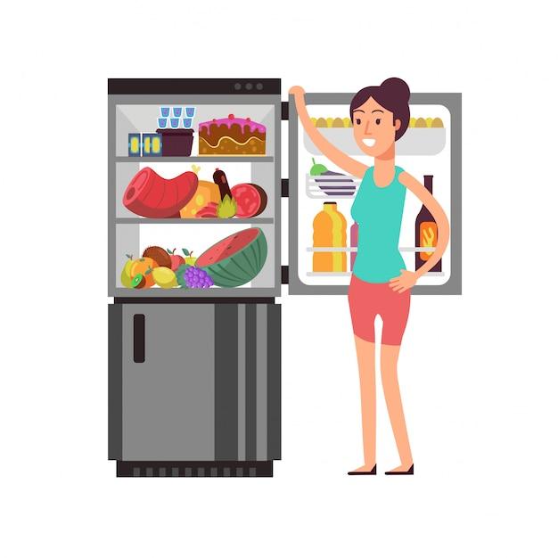 Denkendes snacking der frau am kühlschrank mit ungesundem lebensmittel. leute, die am nachtdiätvektorkonzept essen