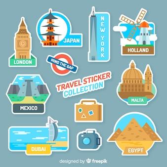 Denkmäler reise-aufkleber-sammlung