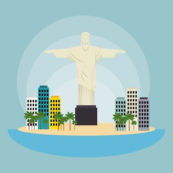 Denkmal christus brasilien stadtlandschaft