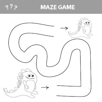 Denkspiel für kinder. labirint mit dino. finde den weg nach hause. einfaches rätsel