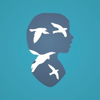 Denkvermögen-fantasie-konzept der menschlichen denkweise