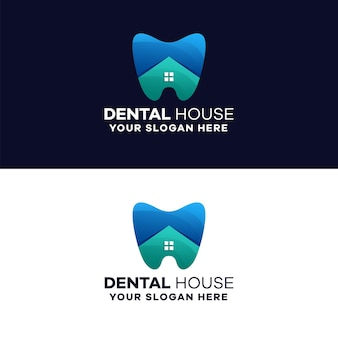 Dental house farbverlauf logo vorlage