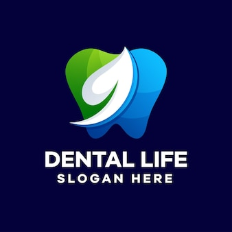 Dental life logo-design mit farbverlauf