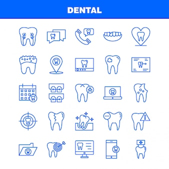 Dental line icons set für infografiken, mobile ux / ui kit
