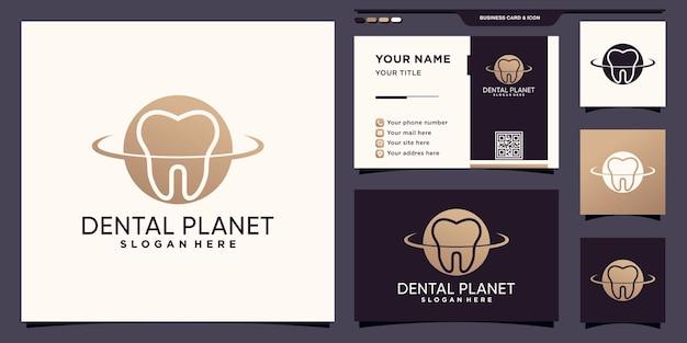 Dental planet logo mit negativem raumkonzept und visitenkartendesign premium-vektor