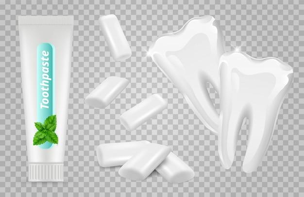 Dental set. zahnpasta, kaugummi, weiße zähne