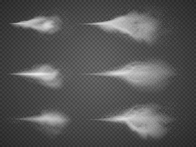 Deodorant-zerstäuber-nebel-vektorsatz. wasseraerosolsprühnebel lokalisiert