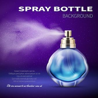 Deodorantflasche mit durchscheinendem wassersprühnebel. produkt werbe vektor hintergrund. duft