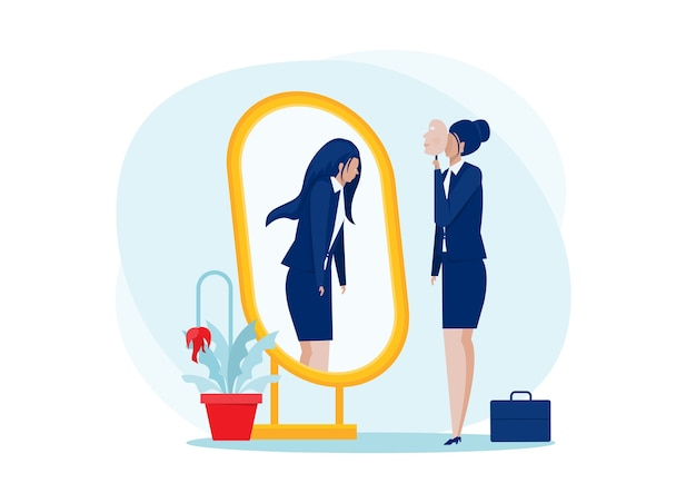 Depression mask.business frau, die mit spiegel steht und sich als schatten hinter sich sieht. depression und melancholisches konzept des selbstvertrauens bei der arbeit,