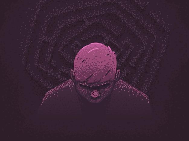 Depression und verzweiflung konzept. ein mensch ist verwirrt im leben, verloren in einem labyrinth von gedanken. probleme und probleme. vektorillustration im flachen stil Premium Vektoren