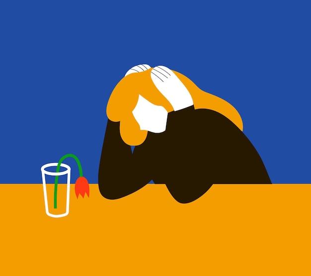Depressive frau mit verwelkter blume in vase ohne wasserillustration im flachen cartoon-stil