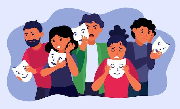 Depressive menschen, die gesichtsmasken halten und emotionen verstecken