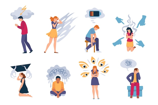 Depressive menschen. erschöpfte einsame traurige frau und mann mit angstzuständen, depressionen, psychischen störungen und stress. psychologieprobleme vektor-set. charakter mit müdigkeit, kranker oder depressiver darstellung