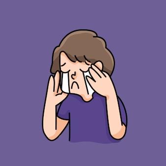 Depressiver junge trauriges versagen keine inspiration niedliche cartoonillustration enttäuscht aufhören mobbing