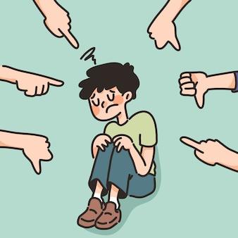 Depressiver junge trauriges versagen keine inspiration niedliche karikaturillustration enttäuscht