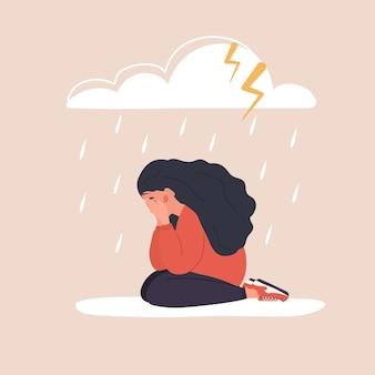 Depressiver teenager weint. konzept der stimmungsstörung.