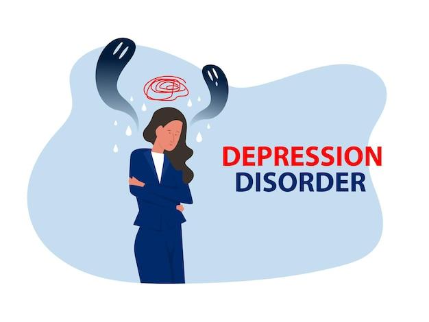 Depressives mädchen mit angst und beängstigenden fantasien, die trauer, ängste, traurigkeitsvektorillustration empfinden