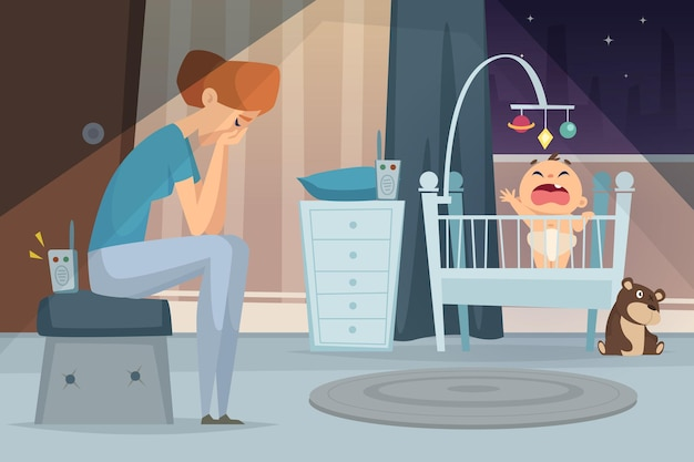 Deprimierende mutter. müde frau sitzt in der nähe von schreiendem baby im bett kranker kindervektor-cartoon-hintergrund. müde und depression, baby- und mutterillustration