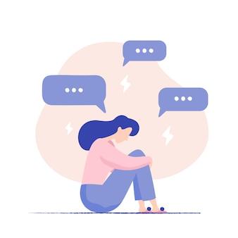 Deprimierte frau, die auf dem boden umgeben durch mitteilungsblasen und -blitze sitzt. cyber-mobbing. unglückliche weibliche figur, die pop-up-nachrichten empfängt. probleme in sozialen medien