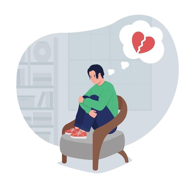 Deprimierter einsamer junge, der an herzschmerz 2d-vektor-isolierte illustration denkt