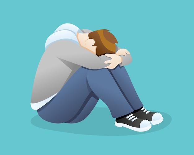 Deprimierter mann, der traurigkeit glaubt