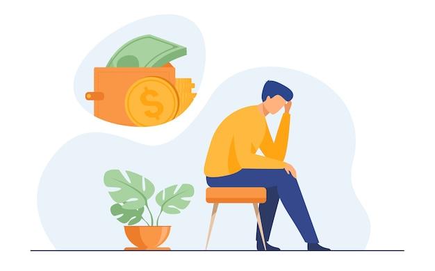 Deprimierter trauriger mann, der über finanzielle probleme nachdenkt
