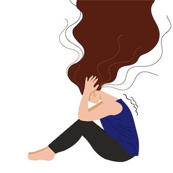 Deprimiertes junges unglückliches mädchen, das ihren kopf sitzt und hält konzept der psychischen störung. bunte vektorillustration im flachen cartoon-stil.
