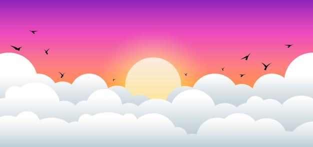 Der abend sonnenaufgang und sonnenuntergang landschaft
