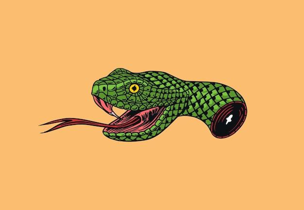 Der abgetrennte kopf einer schlange für tätowierung oder etikett. gravierte handgezeichnete strichzeichnungen. illustration
