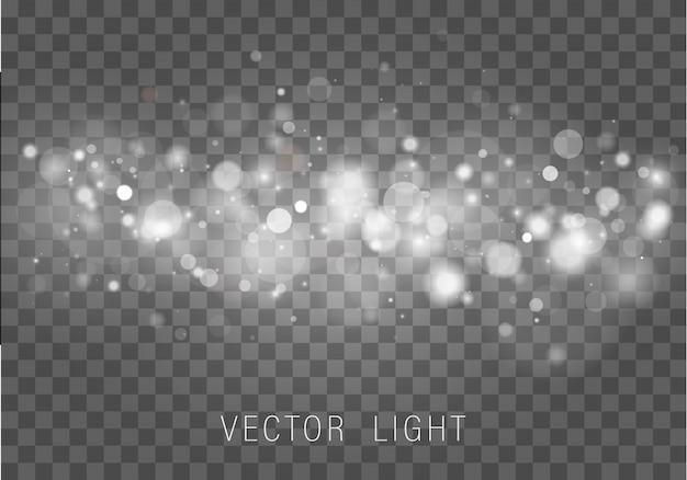 Der abstrakte leuchtende bokeh-lichteffekt des gelben weißgoldlichts lokalisiert auf transparentem hintergrund. festlicher lila und goldener leuchtender hintergrund. konzept. verschwommener lichtrahmen.