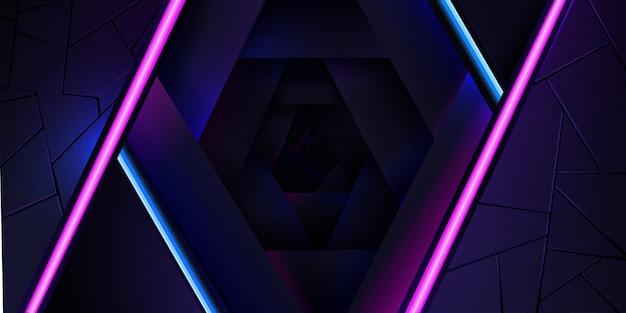 Der abstrakte neonhintergrund mit einer blauen und rosa hellen linie und einer beschaffenheit.