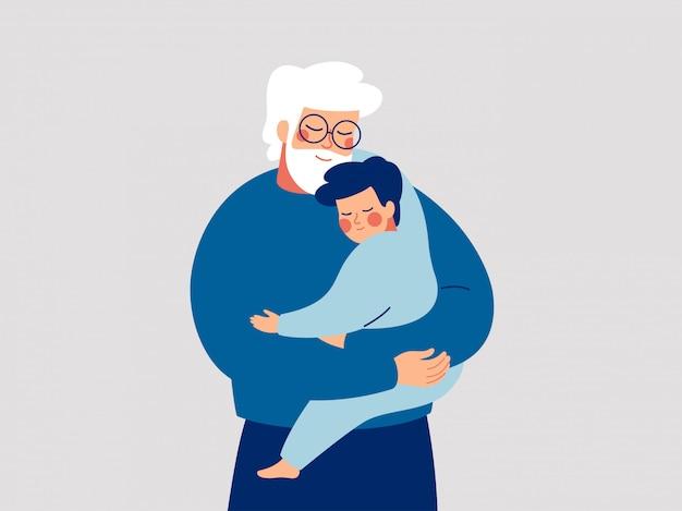 Der ältere vater umarmt seinen sohn mit sorgfalt und liebe. glücklicher großvater umarmt seinen enkel.