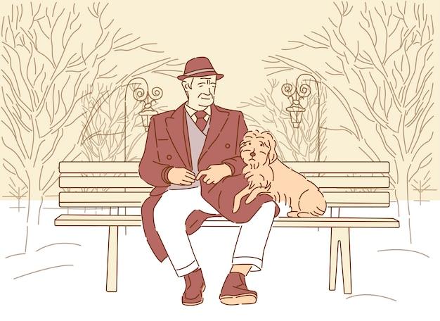 Der alte mann ist mit dem hund befreundet